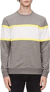 Calvin Klein Mens Sweater Gray US Large L Crewneck Colorblock Pullover