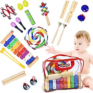 Toddler Musical Instruments - Percussion Instruments for Kids   13 Types 25pcs Wooden Rhythm & Music Toys Set with Lollipop Tambourine Xylophone Early Learning Preschool Educational Toys Storage Bag