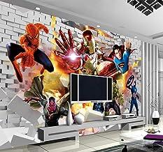 Avengers Behang 3D Foto Behang Hulk Iron Man Superman Muurschildering Jongen Slaapkamer Bakstenen Behang voor Muren TV Ach...