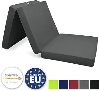 Beautissu® Pouf pliable Campix - Matelas pliant de voyage - 60 x 190 cm - Confortable lit d'invité - Futon - Anthracite