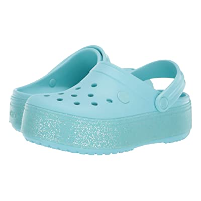 Crocs Kids Crocband Platform Clog GS (Little Kid/Big Kid) (Ice Blue/Ice Blue Sparkle) Girls Shoes