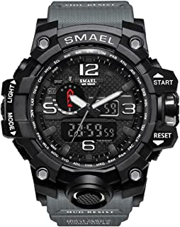 SMAEL Boy's Military Watch, Big Face Sports Watch Army Style Multifunctional Wrist Watch for Youth - dark grey
