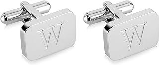 دکمه های سرپوشیده مردانه استیل با حکاکی اولیه 18K با طلای سفید با جعبه هدیه - A-Z نامه الفبای شخصی A-Z توسط Lux & Pair