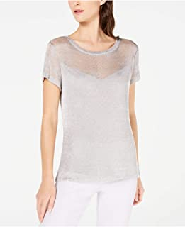INC Womens Silver Short Sleeve Crew Neck T-Shirt Top US Size: S