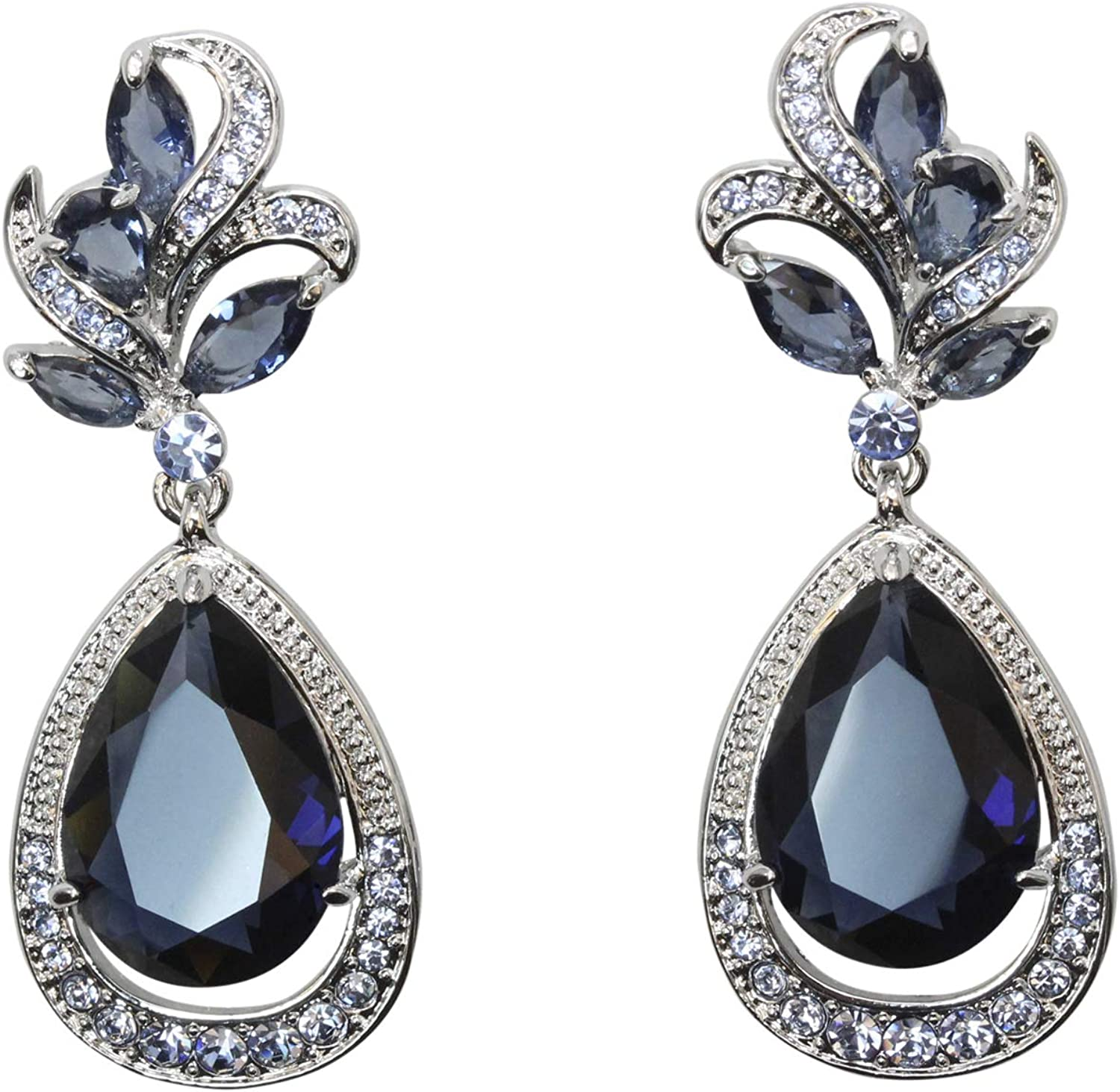 Faship Gorgeous CZ Crystal Dangling Floral Earrings