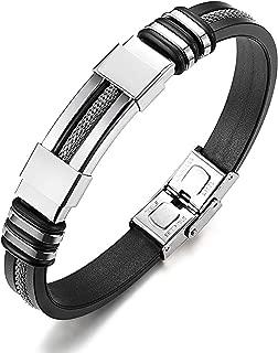 Hommes Bracelet en cuir tressés en acier inoxydable bouchon noir Bracelet 22 cm