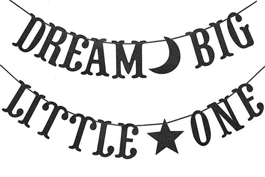 Dream Big Little One Banner for Baby Shower Boy Girl Birthday Party Decorations Supplies Bunting Photo Booth Props Sign (Black Glitter)