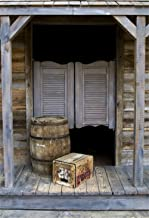 Laeacco Western Style Old Bar Backdrop 3x5ft Vinyl Photography Background Western Saloon Wood Door Barrel Cowboy Countryside Background Rural Rustic Farm House Photo Backdrops Studio Props