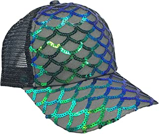 Unisex Bling Meerjungfrau Skalen Pailletten Trucker Hüte Mesh Caps Baseball Party Hut