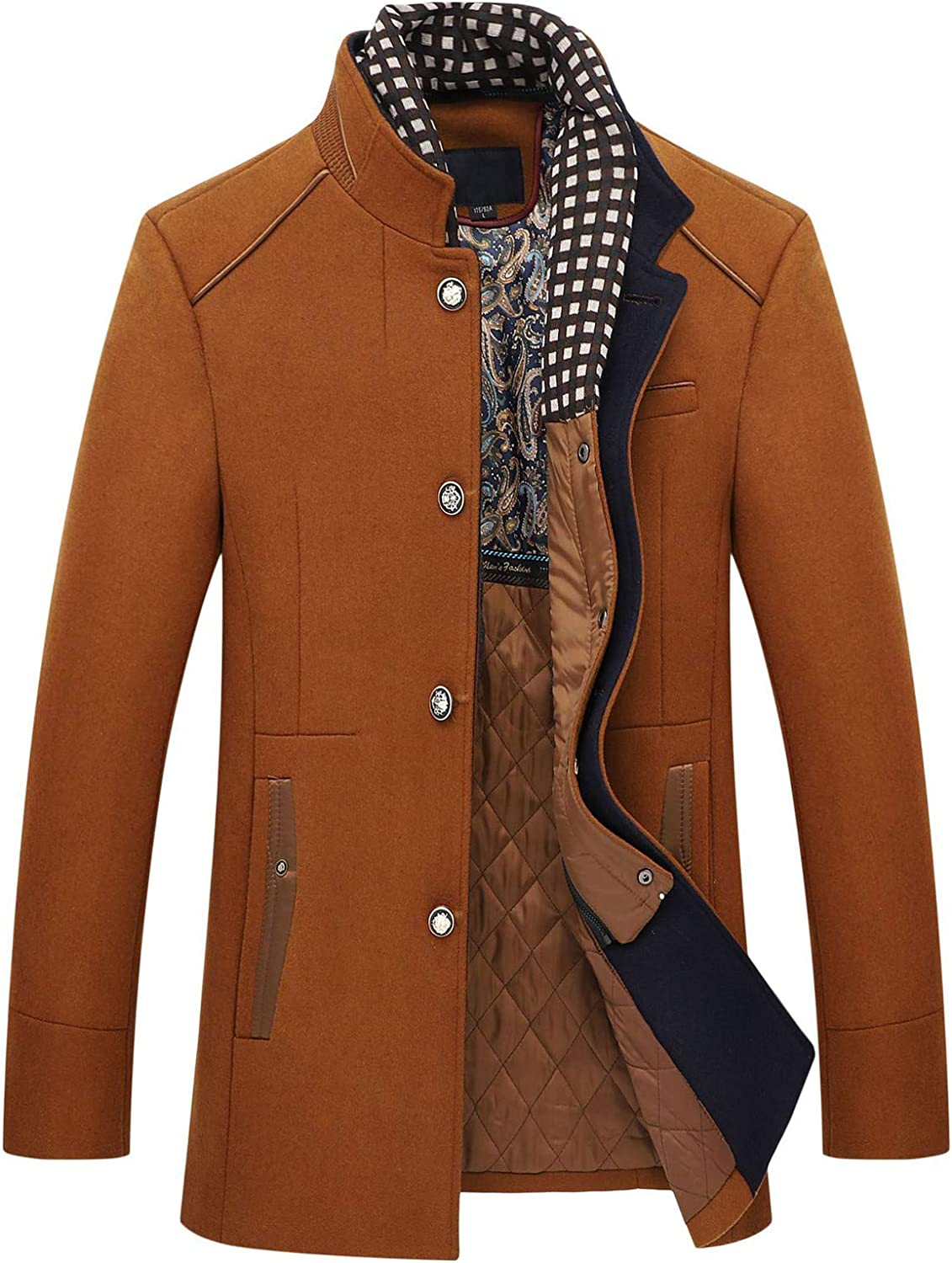 Men's Jackets With Pocket,Long Sleeve Warm Tweed Button Jacket V619