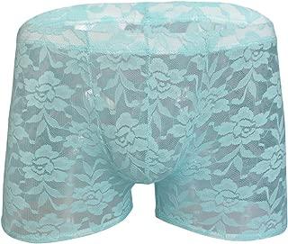 YiZYiF Men's Lingerie Sheer Lace Floral Boxer Briefs Underwear Swims Trunks Swimsuit