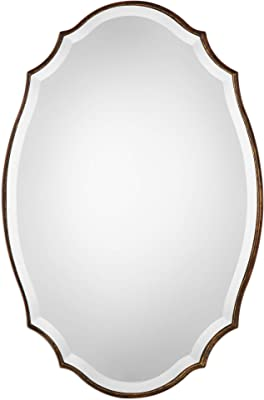 Benjara, Gold and Silver Octagonal Mirror with Curved Edge Wooden Frame