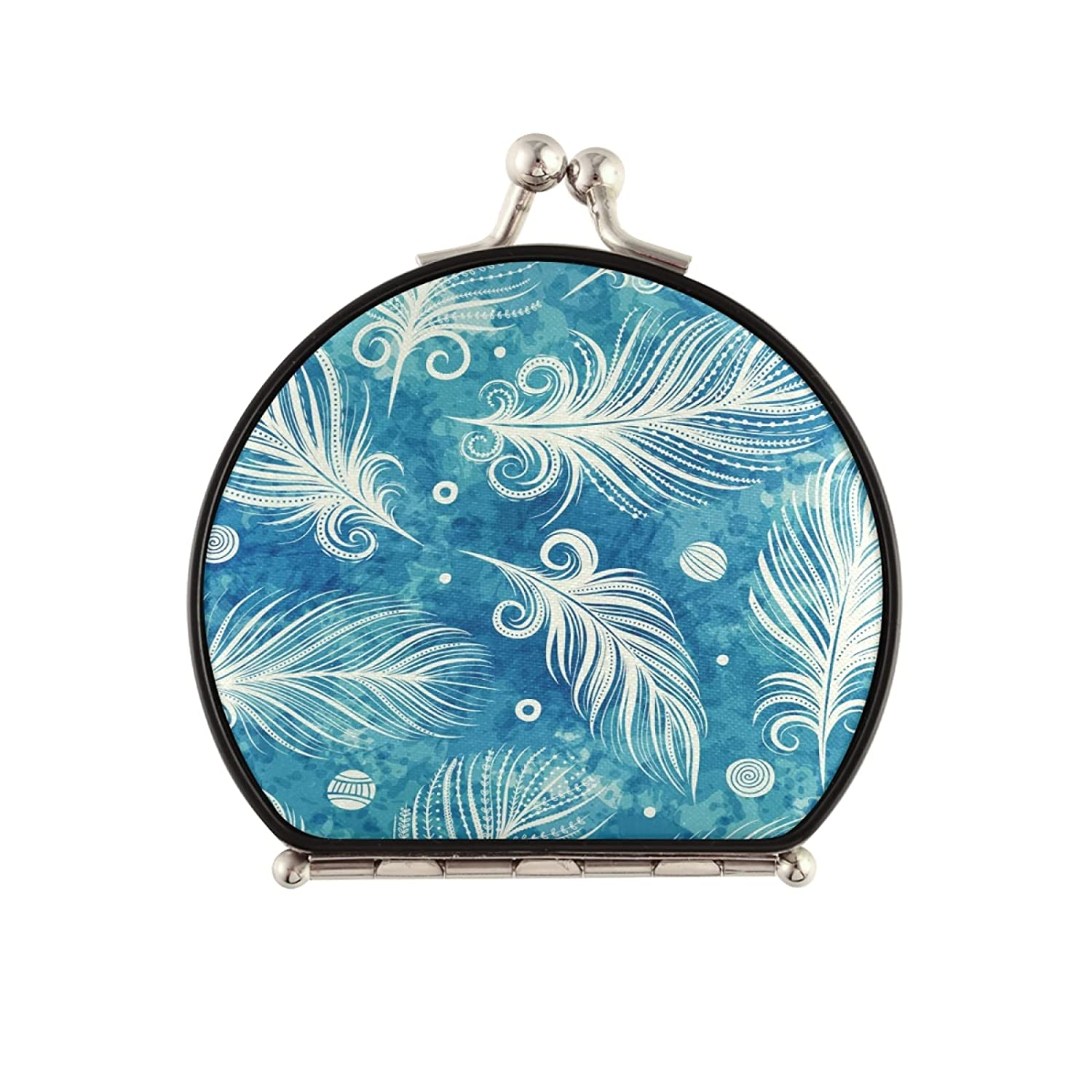 Pocket Mirror Beautiful Seasonal Wrap Introduction Teal Blue Magnifyi Compact Discount mail order White Feather