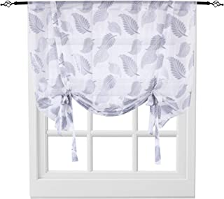 KEQIAOSUOCAI Sheer Tie Up Curtains Leaves Jacquard Rod Pocket Short Balloon Shades for Window Kitchen Sheer Valance 1 Panel Curtain 52 by 63 Inches Long Grey
