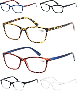 Sponsored Ad - 6 Pack Reading Glasses Men&Women,Super Great Value Square Lightweight Readers-Classic Assorted Colors Desig...