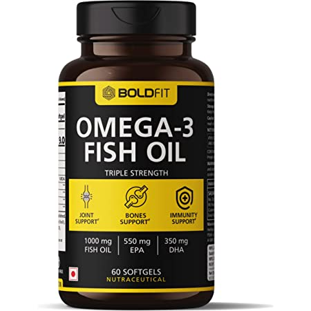 Boldfit Fish Oil Omega 3 Capsules for men and women (Triple Strength Fish Oil) Health Supplement (550 Mg EPA & 350 Mg DHA) For Brain, Bones & Joint Support - 60 Softgels
