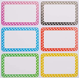 Autrix 300 Pieces Colorful Name Tag Stickers Self-Adhesive Name Labels for School Office Clothes Storage Boxes, 6 Colors