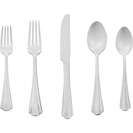 Amazon Basics 20-Piece Stainless Steel Flatware Set with Scalloped Edge, Service for 4