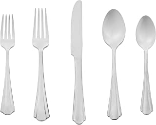 AmazonBasics 20-Piece Stainless Steel Flatware Silverware Set with Scalloped Edge, Service for 4