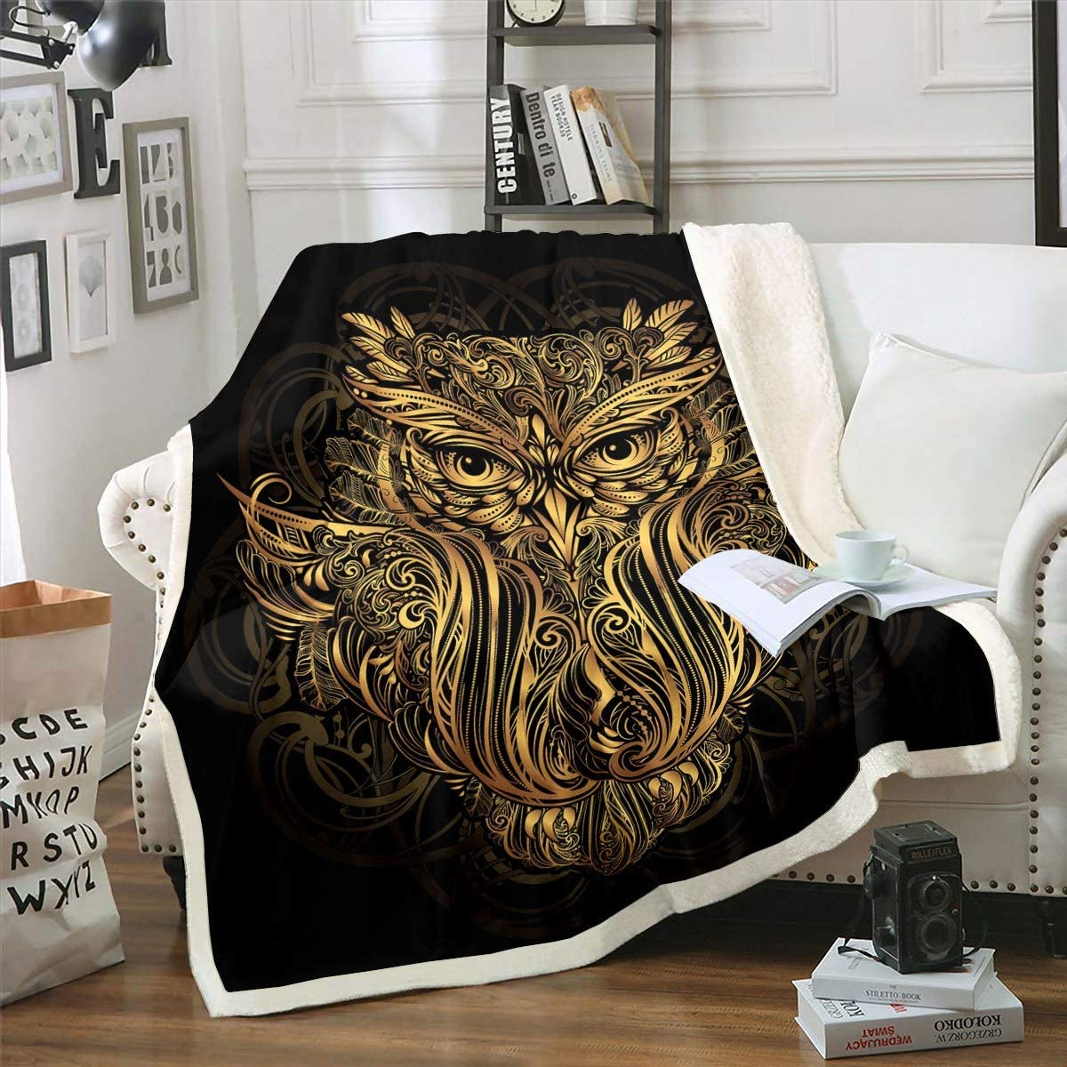 Bohemian Tribal Plush Blanket Nippon regular agency Chic Special price for a limited time Sherpa Illustration Blank Owl