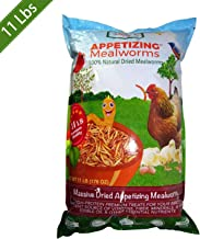 Amzey Dried Mealworms 11 LBS, 100% Natural for Chicken Feed, Bird Food, Fish Food, Turtle Food, Duck Food, Reptile Food, Non-GMO, No Preservatives, High Protein and Nutrition, Zipped Bag