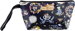 DollyClub Compact Waterproof Travel Cosmetic Bag with Easy Carrying Wristlet, Navy Adorable Owl Printing Design