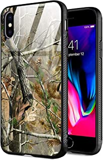 iPhone Xs Max Case,9H Tempered Glass Back Cover+Soft Silicone TPU Shock Absorption Bumper Protective Case Compatible for iPhone Xs Max Realtree Xtra Green Camo