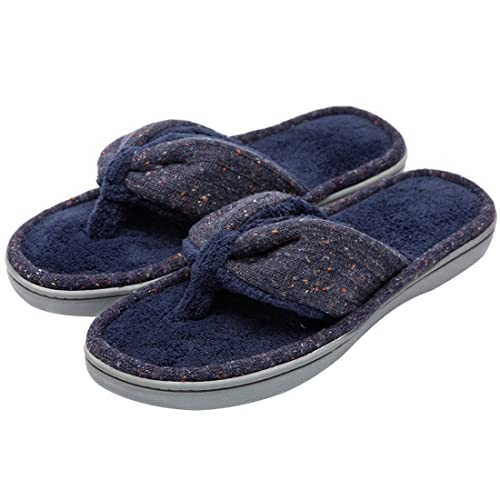 c5c5709b4df1 Women s Soft   Comfy Knitted Plush Fleece Lining Memory Foam Spa Thong Flip  Flops House Slippers