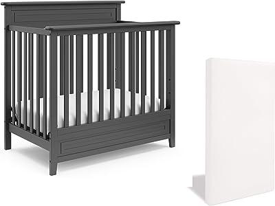 Storkcraft Petal 5-in-1 Convertible Mini Crib with Mattress, Gray