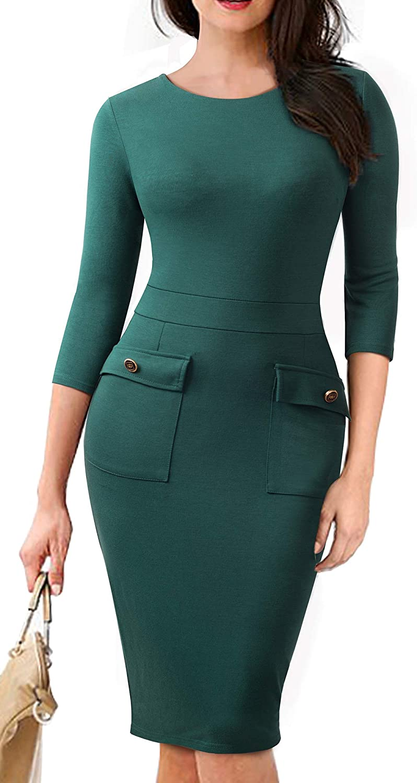 HOMEYEE Women's 3 4 Sleeve Sheath Form Fitting Work Dress with Pockets B465
