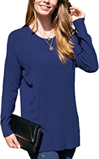 DOUBLJU Women's Long Sleeve Round Neck Knit Sweater with Plus Size