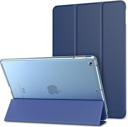 MoKo Funda iPad 9.7 Pulgada 2018/2017 - Ultra Slim Función de Soporte Protectora Plegable Smart Cover Trasera Transparente Durable - Azul Marino