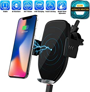 Automatic Sensor Wireless Charger Car Mount, Smart Touch Qi Fast Wireless Charging Air Vent Car Phone Holder for i Phone XS MAX/XR/XS/X/8/8 Plus Samsung Galaxy S9/8/7/Note 8 and More (Black)