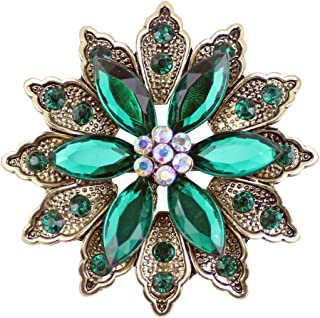 Ailer Green Vintage Created Crystal Brooches for Women Broomly Flower Brooch Pin-26G