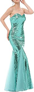 Jonlyc 2019 Women's Mermaid Sequin Long Prom Dresses Formal Evening Gowns