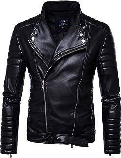 MISSMAO Mens Cool Racing Biker Belted Leather Jacket
