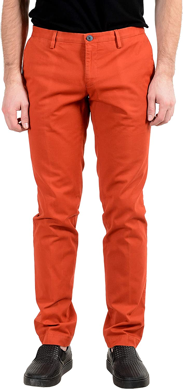Hugo Boss Stanino16-W Men's Red Stretch Slim Casual Pants US 32 IT 48