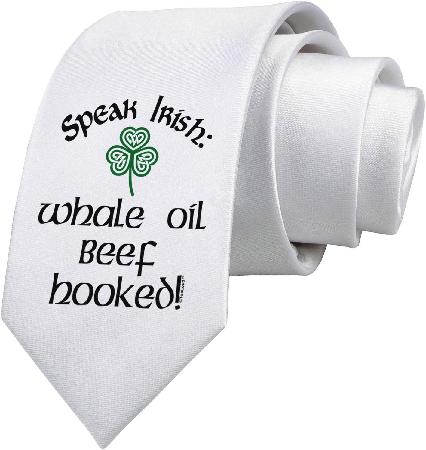 Speak Irish - Corbata blanca estampada con ganchos de carne de res de aceite de ballena