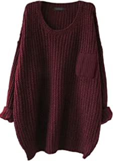 Women's Casual Unbalanced Crew Neck Knit Sweater Loose...