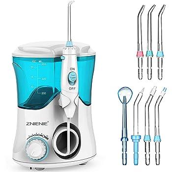 ZNIENIE Water Flosser 10 Pressure Settings Oral Irrigator Anti Leakage Water Pick Teeth Cleaner with 7 Multifunctional Tips, 600ml High Capacity Dental Water Flosser for Braces Care, Teeth Cleaning