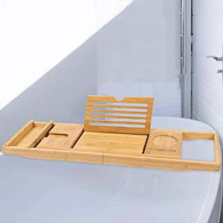 AUMA Extendable Premium Bamboo Bathtub Tray Caddy - Natural Wood, Ecofriendly - Integrated Tablet, Smartphone, Wine, Book ...