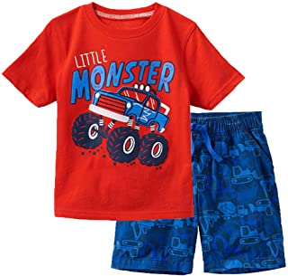 Meeyou Little Boys' Cotton Short Sleeve T-Shirt & Plaid Shorts Set