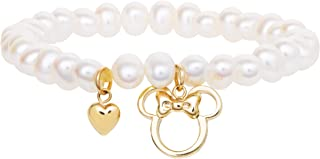 Minnie Mouse 10KT Yellow Gold and Pearl Stretch Bracelet for Girls, Mickey's 90th Birthday Anniversary