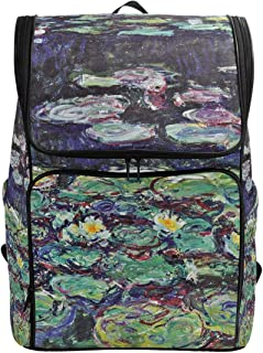 Canvas Backpack Monet's Red Water Lilies Large Capacity School Daypack Bookbag Laptop Backpack