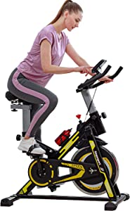 Fitness Synergy Magnetic Indoor Cycling Bike Stationary Exercise Bike, Super Silent Spin Bike with Comfortable Soft Seat Cushion, Ipad Holder with LCD Monitor for All Home Gym & Workout Equipment