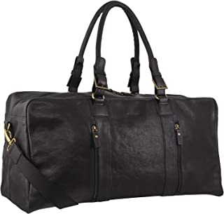 Pierre Cardin Rustic Leather Travel Business Trip Bag Overnight - Black