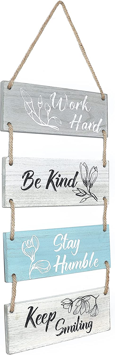 Rustic Wall Hanging Plaque - Work Hard Be Kind Stay Humble Keep Smiling Farmhouse Motivational Gifts Positive Wall Sign with Saying Quotes Wall Decor for Home, entryway