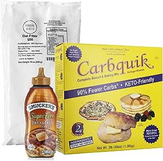 Carbquik Baking Biscuit Mix 48oz Box + Smucker's Sugar Free Breakfast Syrup 14.5 oz Bottle + Humans for Health Oat Fiber 500 1Lb Bag | 3 in 1 Low Carb Value Bundle