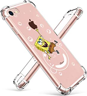"Allsky Case for iPhone 8/7 4.7"", Clear Cartoon Design Pattern Soft Cute Fun Ultra-Thin Cover,Kawaii Kids Girls Teens Animal Skin Creative Shockproof Funny. Cases for iPhone 8/7 SpongBob"