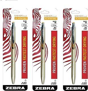 Zebra Sarasa Grand, ノック式ゲルインクペン ゴールドバレル 中字 0.7mm ブラックインク 1本 3 Pack ゴールド